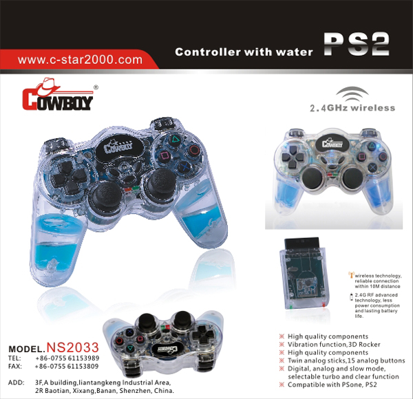 2 4GHz wireless Controller with liquid for PS2 PS2 C-STAR